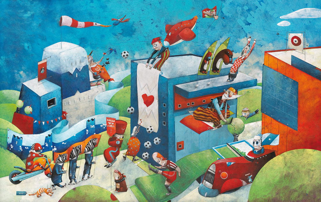 Campaign illustration printed on flags, banners, beachflags or displayS. Illustration by Steven Van Hasten. Client: Waelkens