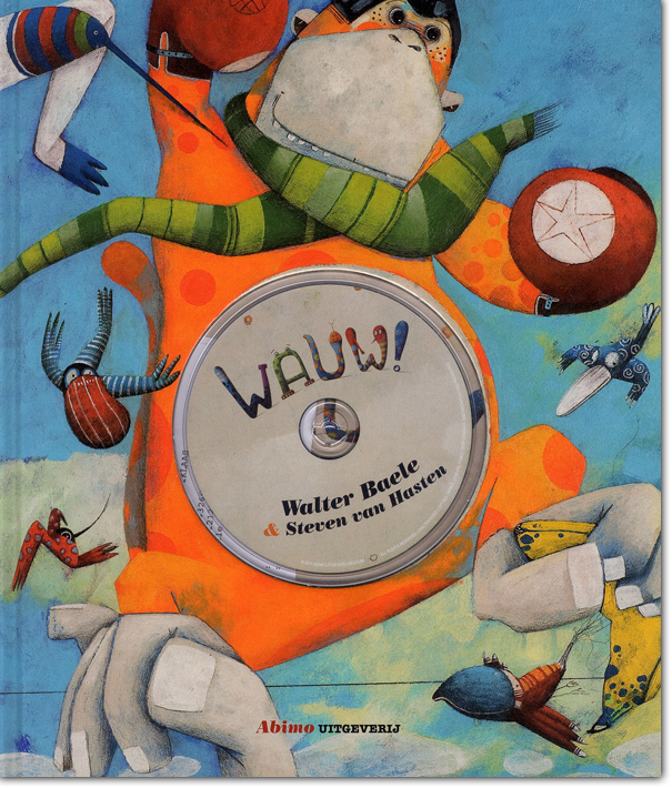 Illustration of a monkey and birds flying around him, used as the cover for the children's book Wauw (Wow)