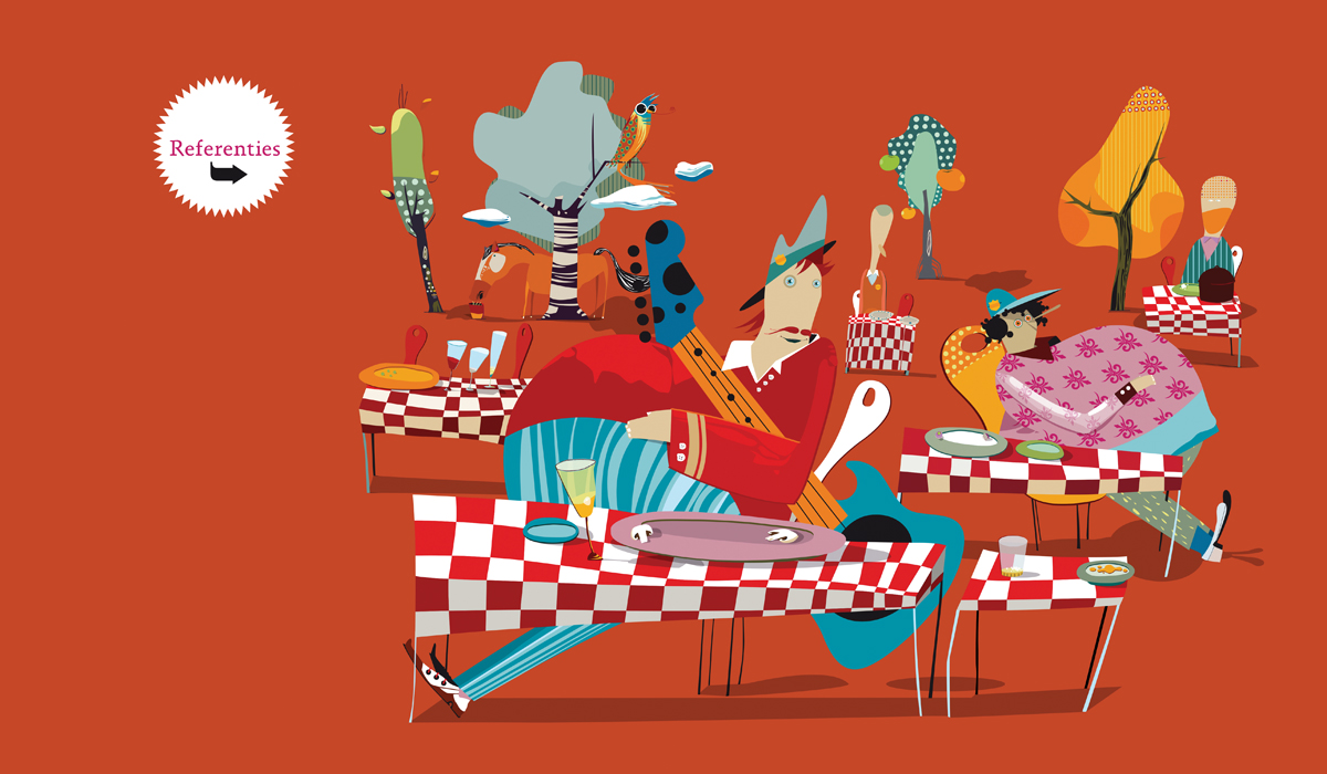 Zekookt is a catering company specializing in set catering and catering for corporate events. The website for ZeKookt is completely setup as a set of illustrations.