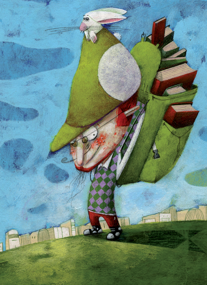Illustration of a traveller with a backpack full of books. Copyright by Steven Van Hasten.