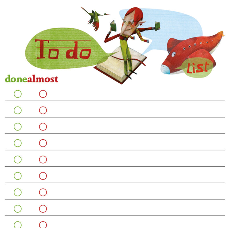 Printable To Do list with colorful illustration of a bird and a plane.